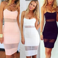 SIMPLE - Women's Fashionable Night Club Sexy Spaghetti Strap Slim Fit Low Cut Evening Cocktail Party Dress b2969