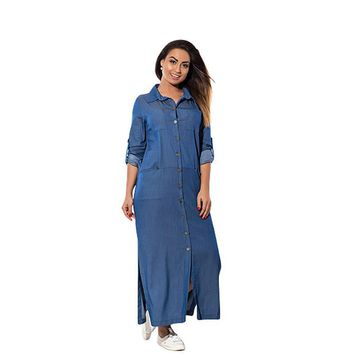 2017 New Brand Women Dress  6XL Vestidos Denim Dresses Plus Size Oversized Ankle Length Turn Down Collar Full Sleeve Dress
