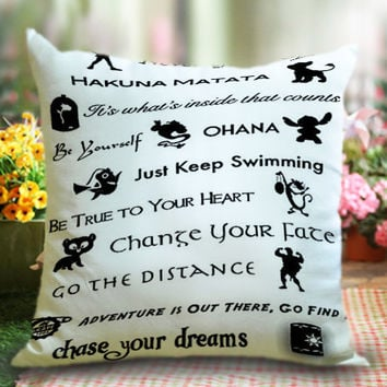 Disney lessons learned Mash-up Quotes, Pillow Cases/Pillow Cover/Cushion Case