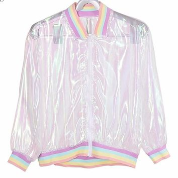 Iridescent Hologram Pastel Rainbow Jacket (Only 1 Availablefor imediate shipping)
