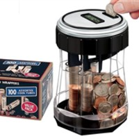 EZ-Count Money Jar Digital Coin Counter w/100 ct Wrappers