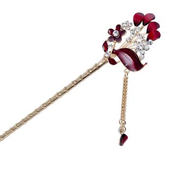 Haimeikang Hair Jewelry Hairpin Chinese Style Hair Stick Tassel Lotus Handmade vintage Hair Sticks Women Hair Accessories