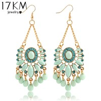 17KM Hot Sky Blue Water Drop Crystal Statement Dangle Earring Fancy Luxury Summer Style Big Drop Earrings For Women For Sale