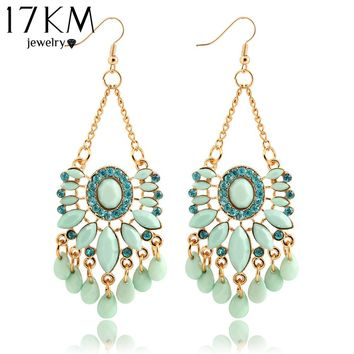 17KM Hot Sky Blue Water Drop Crystal Bohemia Statement Dangle Earring Fancy Luxury Summer Style Big Drop Earrings For Women For Sale