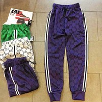 Gucci Women Men Trouser More Logo Print Stripe Two Line Long Pants Purple
