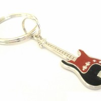 Guitar Charm Key Chain or Zipper Pull with Black and Red Guitar Charm