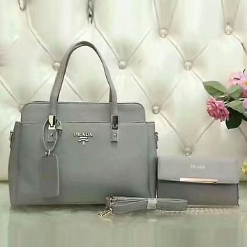 PRADA Women Popular Shopping Leather Satchel Tote Handbag Shoulder Bag Crossbody Set Two-Piece Grey I-LLBPFSH