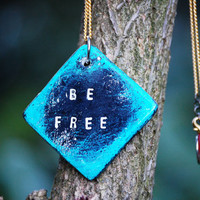 Be Free rustic necklace with engraved pendant = inspirational quotes jewellery