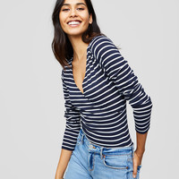 Striped Wrap Effect Bodysuit | LOFT
