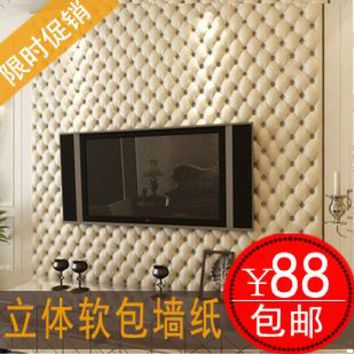 Imitation leather three-dimensional soft package wallpaper European-style wallpaper Bedroom, living room TV setting wall paper