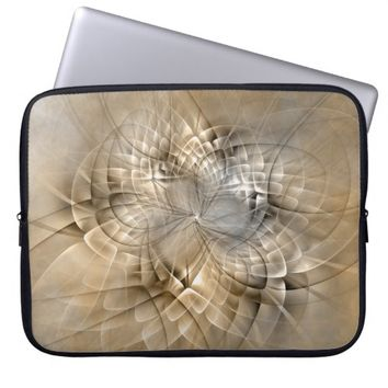 Earth Tones Abstract Modern Fractal Art Texture Laptop Sleeve