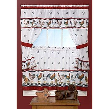 Ben&Jonah Collection Top of the Morning Cottage Window Curtain Set - 57x24 Tier Pair/57x36 Tailored Topper with attached valance and tiebacks. - Black/White