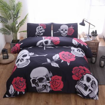 Drop shipping 3D Digital Rose flower skull Print Duvet Cover set with pillowcase skull Bedding Set King size AU Queen Be