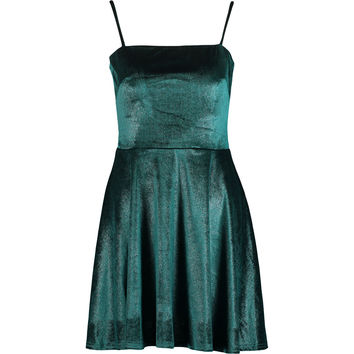 Green Velour Shimmer Skater Dress - Occasion Dresses - Occasionwear - Women - TK Maxx