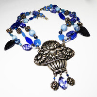 Flower Basket Pendant Necklace - Multi Strand Beads - Royal Blue, Powder Blue - Navy Blue - Blue Art Glass Beaded Jewelry - Artist Studio