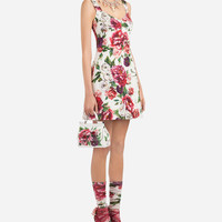 New Arrivals Women's Clothes | Dolce&Gabbana - PEONY-PRINT BROCADE DRESS