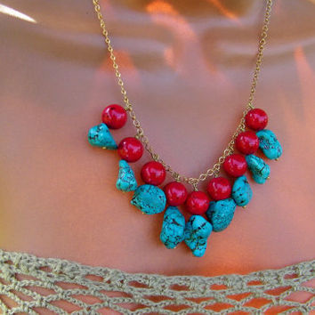 Indie Turquoise and Red Coral Boho Bib Necklace. Brass and Stone.