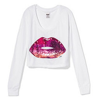 Long Sleeve Bling V-day Tee - PINK - Victoria's Secret