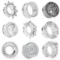 PAIR ANTIQUED TRIBAL SILVER BRASS TUNNELS PLUGS GAUGES PLUGS PLUG EAR GAUGE