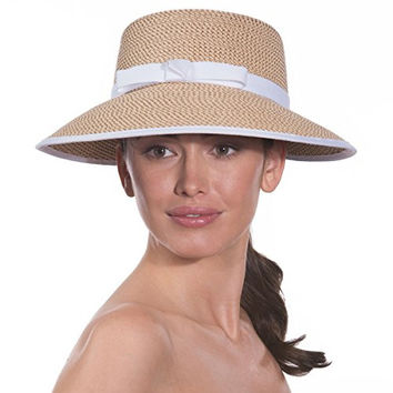 Eric Javits Luxury Woman's Hat Squishee Cap (Peanut/White)