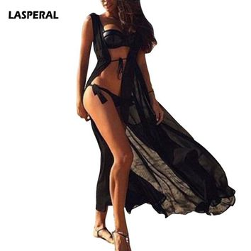 LASPERAL New One Size Beach Outings Cover up Chiffon Robe Plage Candy Color Kaftan Dress Praia Women Beach Tunic Sarong Swimsuit