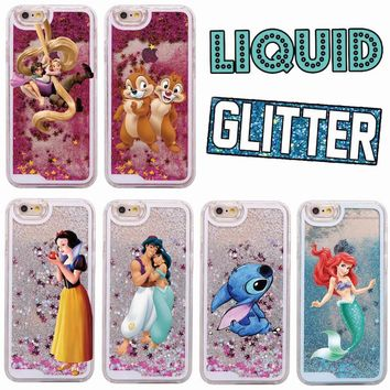 Cute Cartoon Fashion Glitter Liquid Stitch Chip Dale Mermaid Princess Hard Case For iPhone 7 7Plus 6 6S 6Plus 5 5S SE 8 8Plus X
