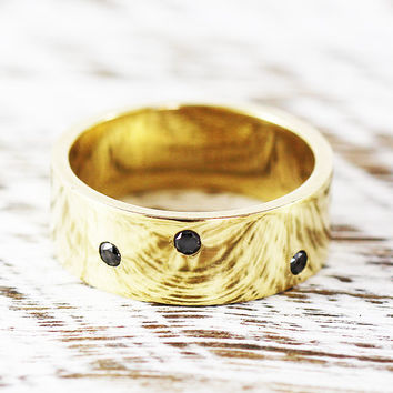 Black Diamond Ring Gold Mens and Womens Wedding Band Personalised Jewellery