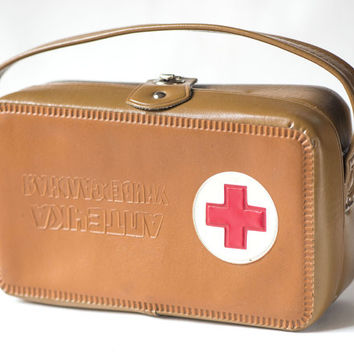 Vintage First Aid kit box brown, USSR medicine pouch brown First Aid bag, fun medicine chest, Pharmacy bag 70s with handle red cross box