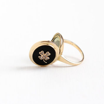 Vintage 10k Yellow Gold Simulated Onyx & Diamond Four Leaf Clover Locket Ring - WWII 1940s Goodluck Shamrock Fine Rare Photograph Jewelry