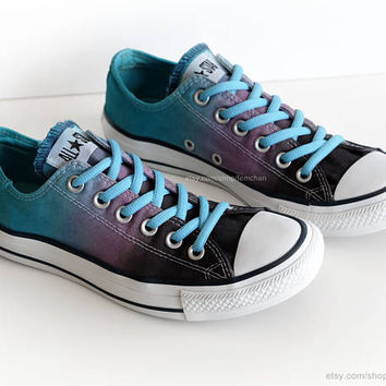 Ombré dip dye Converse, charcoal, purple, turquoise, low tops, tie dye sneakers, upcycled vtg shoes, size EU 39 (UK 6, us wo's 8, us mens 6)