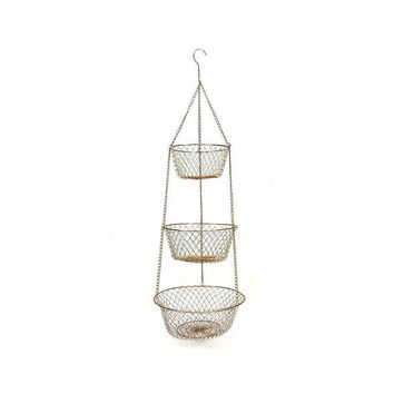 Wire Three Tier Hanging Baskets Fruit Vegetable Storage Farmhouse Vintage Kitchen Bathroom Craft Supply Organization Rustic Collapsible