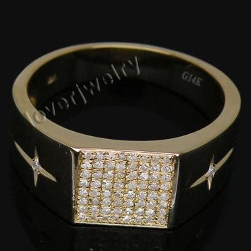 Vintage Wedding Men Band Rings,Natural Diamonds Unique Men Rings In 18Kt Yellow Gold For Sale