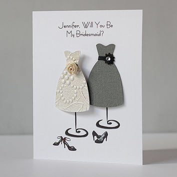 Customized name BRIDESMAID wedding party card, handmade paper goods bridal charcoal grey invitation, customize Will you be my bridesmaid?