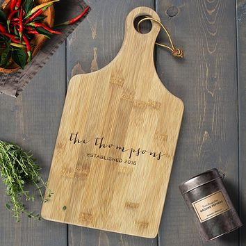Personalized Engraved Paddle Cutting Board, Bamboo - CB06