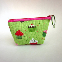 Toiletry Bag Cupcake Zipper Pouch Quilted by EweniqueEssentials