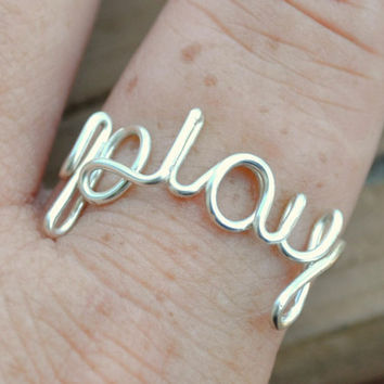 Adjustable Wire Wrapped Word Ring PLAY