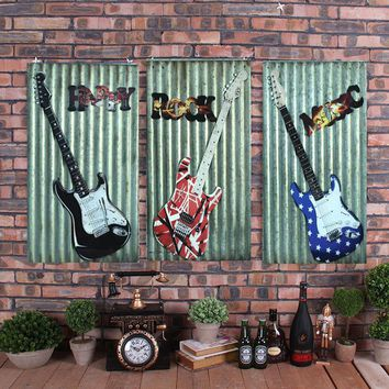 D American country stereo guitar mural wall decoration painting wall Iron Wall Decor living room background