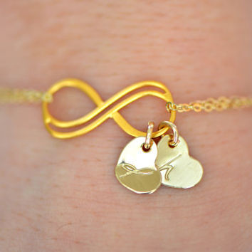 Personalized Infinity Bracelet, Gold Double Infinity Bracelet, Heart Initial Bracelet, Bridesmaids Gift , Valentine's Day Gift