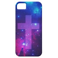 Purple Pink Beautiful Galaxy Nebula Stars Cross iPhone 5 Case