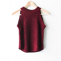 Sweater Knit Crop Tank Top - Burgundy