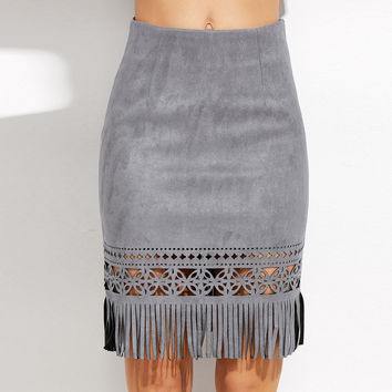 Vintage Tassel Suede Skirt Leather Pencil Hollow Skirt High Waist Women Mini Skirt Autumn Bodycon Short Skirts American Apparel