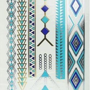 Metallic  Turquoise Gold and Silver Temporary Tattoo