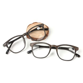 Vintage Reading Glasses New imitation wood grain reading glasses large frame plastic Spring Hinges reading glasses men women