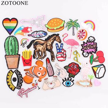 ZOTOONE 1PCS Unicorn Sequin Patch Heart Horse Embroidery Patch Set Fruit Iron on Cartoon Patches For Clothes Stickers Kids Jeans