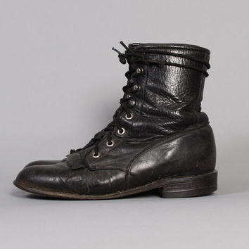 1980s BLACK Lace-Up BOOTS / Leather Kiltie Fringe Justin Ropers, 8