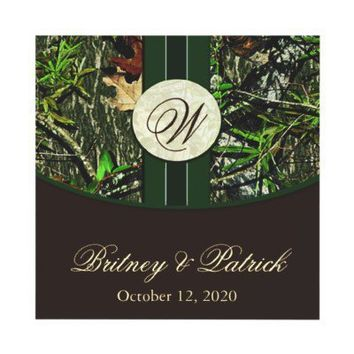Brown & Hunter Green Camo Wedding Invitations from Zazzle.com