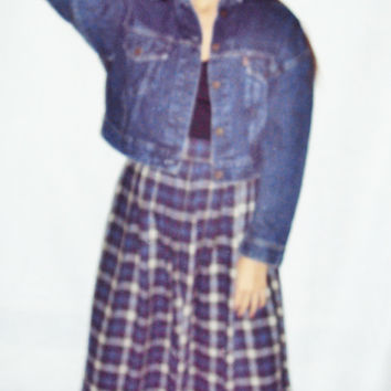Denim Jacket / Cropped Denim Jacket / Grunge / Dark Wash Denim / Grunge 90s /