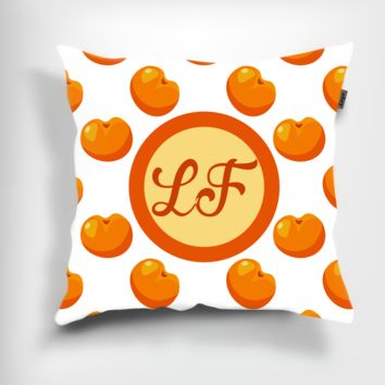 Personalized Peach Pillow with Solid Peach Back. 16""