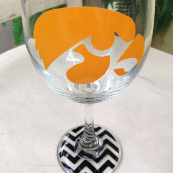 Iowa hawkeyes, inspired, wine glass, hawkeyes, iowa hawkeye, personalized wine glass, wedding, housewarming, graduation gift