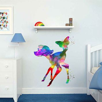 kcik2110 Full Color Wall decal Watercolor Bambi Character Disney Sticker Disney children's room Fawn